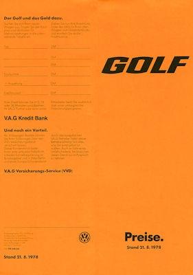 VW Golf 1 Preisliste 8.1978