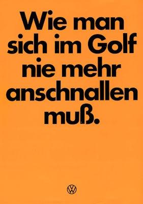 VW Golf 1 Rückhalte-System Prospekt ca. 1979