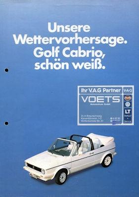 VW Golf 1 Cabriolet Sondermodell weiß Prospekt ca. 1984