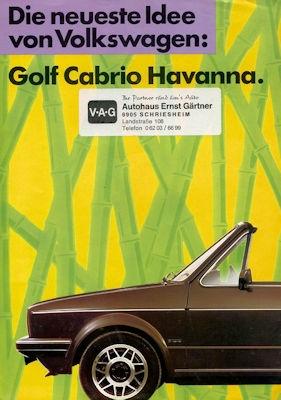 VW Golf 1 Cabriolet Sondermodell Havanna Prospekt ca. 1984