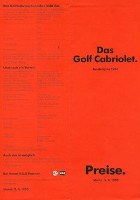 VW Golf 1 Cabriolet Preisliste 4.1985 Modelljahr 1986 0