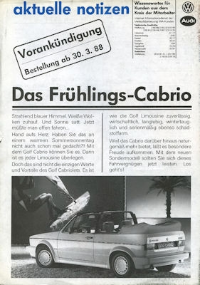 VW Golf 1 Cabriolet Aktuelle Notizen 3.1988 0
