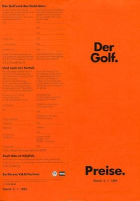 VW Golf 2 Preisliste 1.1984 0