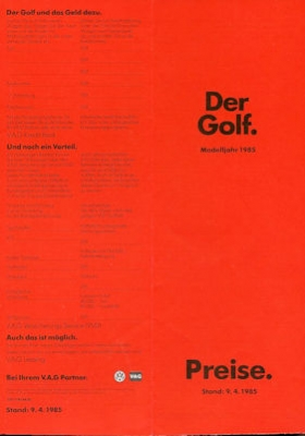 VW Golf 2 Preisliste 4.1985