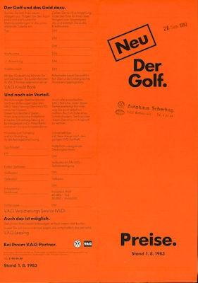 VW Golf 2 Preisliste 8.1983