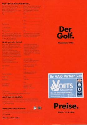 VW Golf 2 Preisliste 9.1984