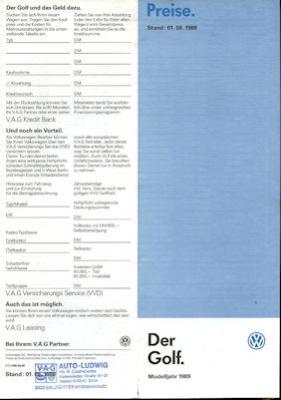 VW Golf 2 Preisliste 8.1988