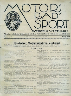 Motorrad Verkehr Sport und Technik 1924 Heft 30