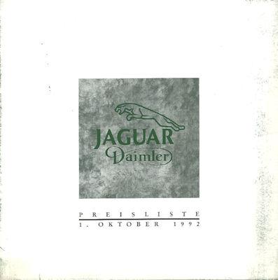 Jaguar / Daimler Preisliste 10.1992