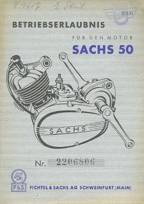 Sachs 50 Betriebserlaubnis 1956