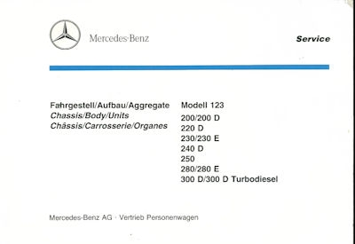 Mercedes-Benz W 123 200-300TD Ersatzteilliste 1990