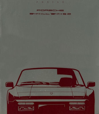 Porsche 944 Turbo / S2 Preisliste 8.1989