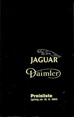 Jaguar / Daimler Preisliste 9.1981