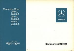Mercedes-Benz 280 350 450 SL SLC Bedienungsanleitung 7.1974