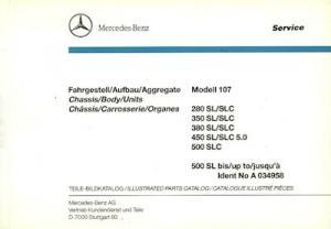 Mercedes-Benz W 107 Ersatzteilliste 1990