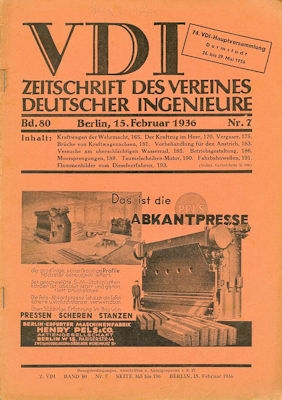 VDI Zeitschrift des Vereines deutscher Ingenieure 1936 Heft 7