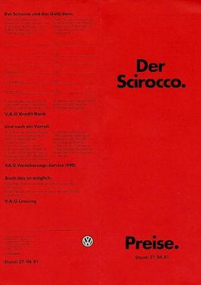 VW Scirocco 2 Preisliste 4.1981