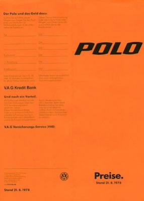 VW Polo 1 Preisliste 8.1978