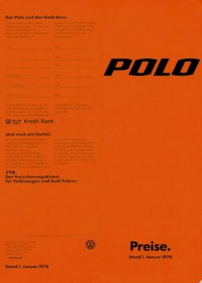 VW Polo 1 Preisliste 1.1978