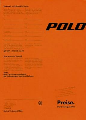 VW Polo 1 Preisliste 8.1976