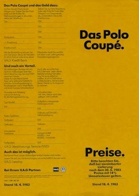 VW Polo 2 Coupé Preisliste 4.1983