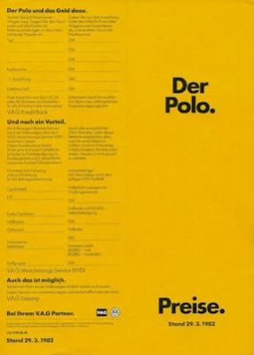 VW Polo 2 Preisliste 3.1982