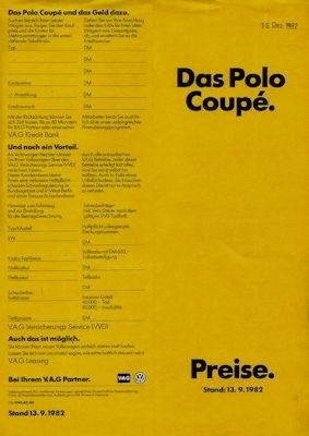 VW Polo 2 Coupé Preisliste 9.1982