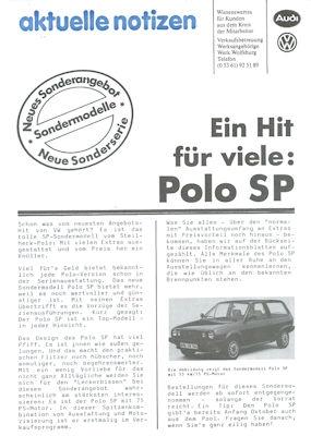 VW Polo 2 SP Aktuelle Notizen 9.1983