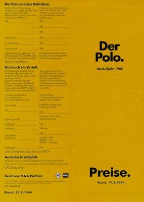 VW Polo 2 Preisliste 9.1984