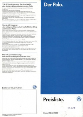 VW Polo 2 Preisliste 2.1990
