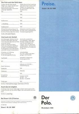 VW Polo 2 Preisliste 8.1989