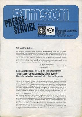 Simson Kleinroller Typ KR 51/1 S Presse-Service 1968