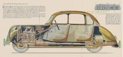 EMW 340 Schnittmodell Faltblatt 1950er Jahre