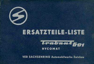 Trabant 601 Hycomat Ersatzteilliste 1965