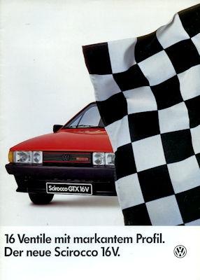 VW Scirocco 2 GTX 16 V Prospekt 1.1986