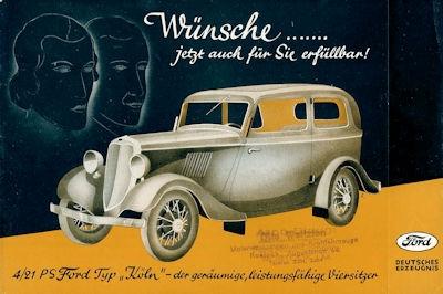 Ford Köln 4/21 PS Prospekt 3.1934