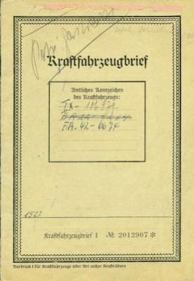 Opel Super 6 Original Fahrzeugbrief 1937