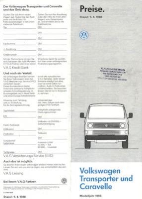 VW T 3 Transporter und Caravelle Preisliste 4.1988