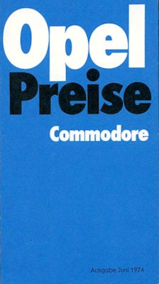 Opel Commodore Preisliste 6.1974 0