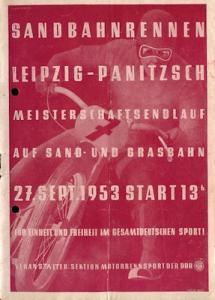 Programm Sandbahnrennen Leipzig-Panitzsch 27.9.1953