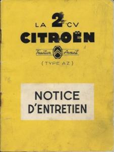 Citroen 2 CV Type AZ Bedienungsanleitung Notice d`Entretien 9.1955