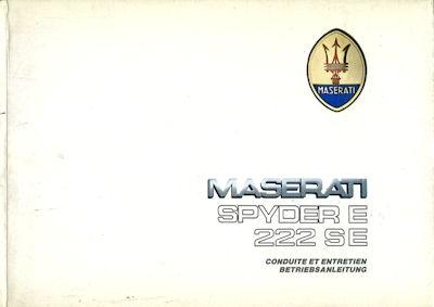 Maserati Spyder E / 222 SE Bedienungsanleitung 4.1990