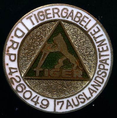 Original Anstecker Tigergabel 1920/30er Jahre