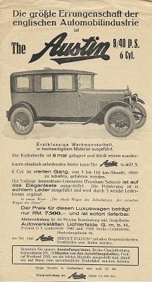 Austin 9/40 PS Prospekt ca. 1930