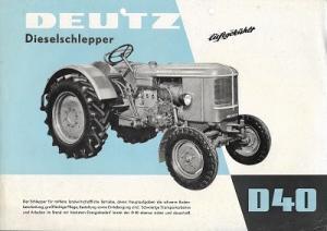 Deutz D 40 Dieselschlepper Prospekt 4.1959