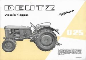 Deutz D 25 Dieselschlepper Prospekt 10.1960