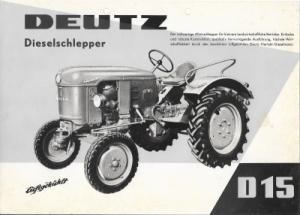 Deutz D 15 Dieselschlepper Prospekt 4.1959