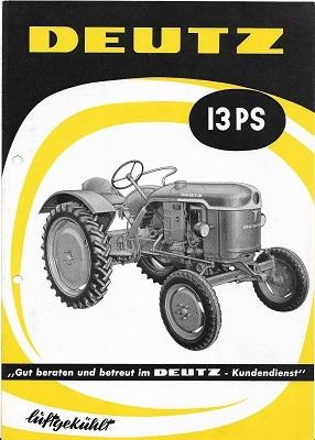 Deutz 13 PS Dieselschlepper Prospekt 5.1958