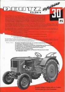 Deutz 30 PS Dieselschlepper Prospekt 10.1956