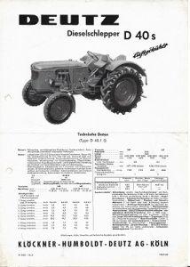 Deutz D 40 S Dieselschlepper Prospekt 11.1959
